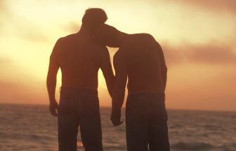 Two men holding hands and watching a sunset at the beach